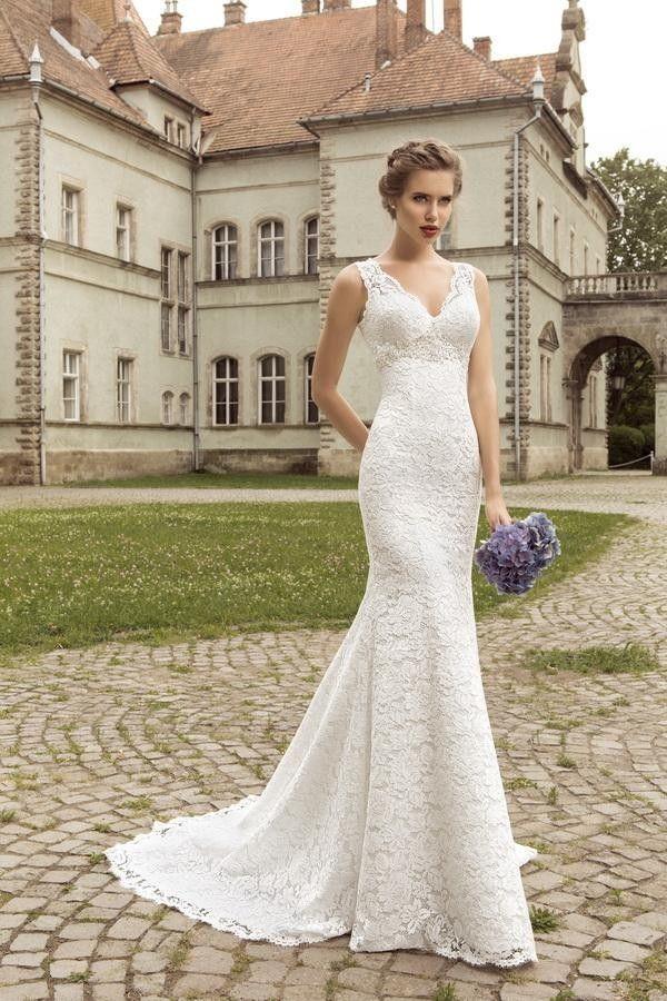 Wedding - V-Neck Sleeveless Lace Up Back Mermaid Wedding Dress