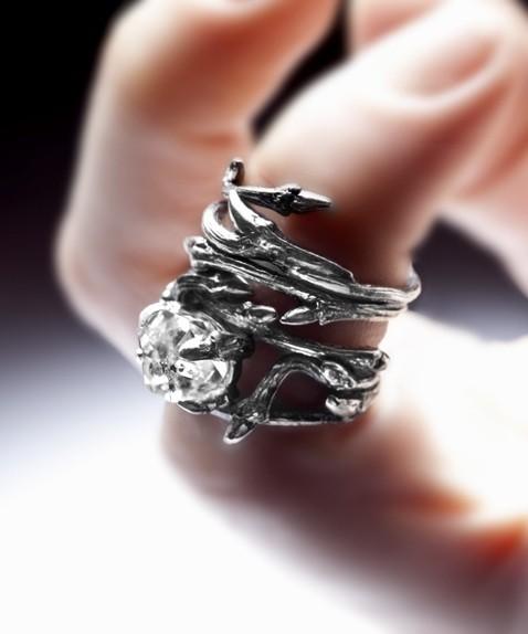 Mariage - Raw Gemstone  ring - Elvish Herkimer Diamond - engagement alternative: twigs and natural rock crystal