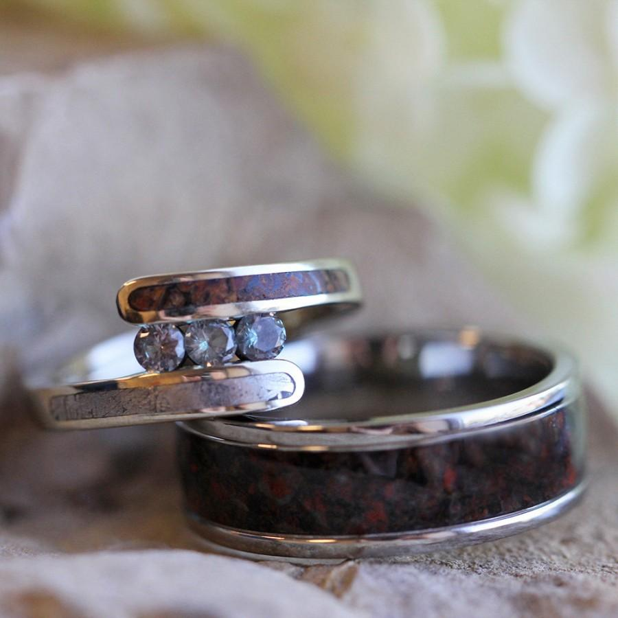 media bandmeteorite ring meteorite wedding dinosaur band ringblue blue and titanium bone rings stardust shavings