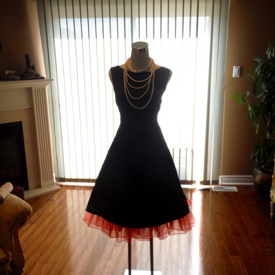 Audrey hepburn dress black bridesmaid dress 1950s dress for Little black wedding dress