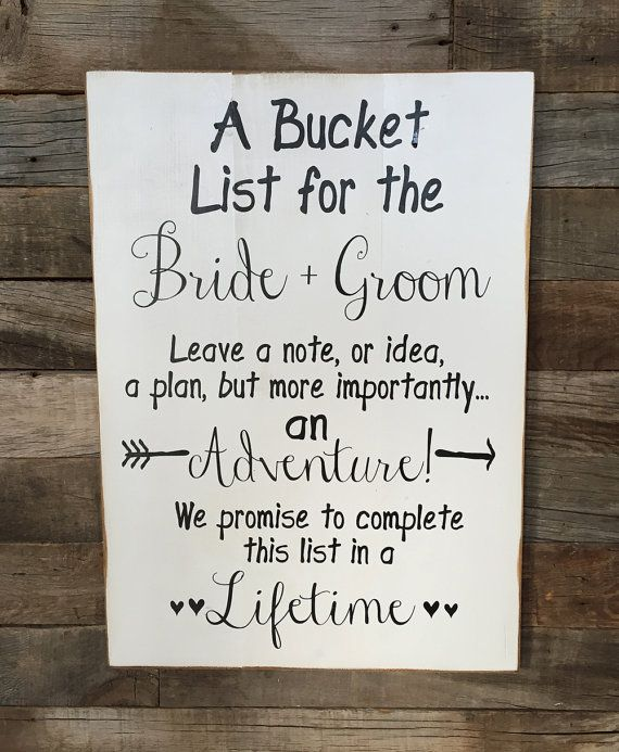 Свадьба - Large Wood Sign - A Bucket List For The BRIDE And GROOM- Subway Sign - Farmhouse Sign