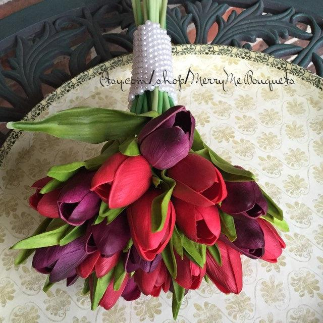 Boda - Tulip Bouquet - Tulip Bridal Bouquet - True Touch Tulip Bridal Bouquet - True Touch Tulips - Purple Red Tulips - Fall Bouque