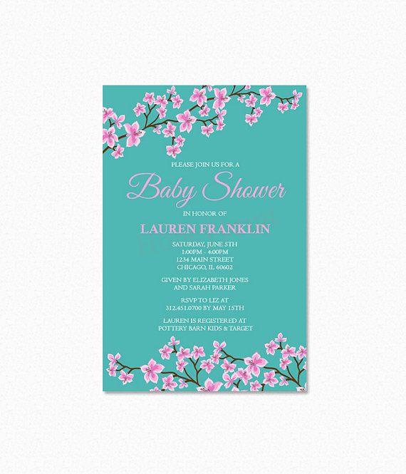 Cherry blossom baby shower invitation pink cherry blossoms cherry blossom baby shower invitation pink cherry blossoms personalized printable filmwisefo