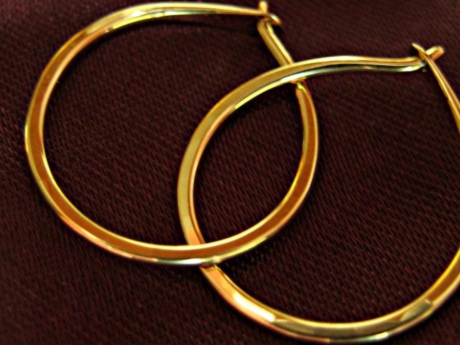 """Mariage - Classic 18kt Gold Hammered Hoop Earrings - Solid 18kt Gold Hoops - 5/8"""" Diameter"""