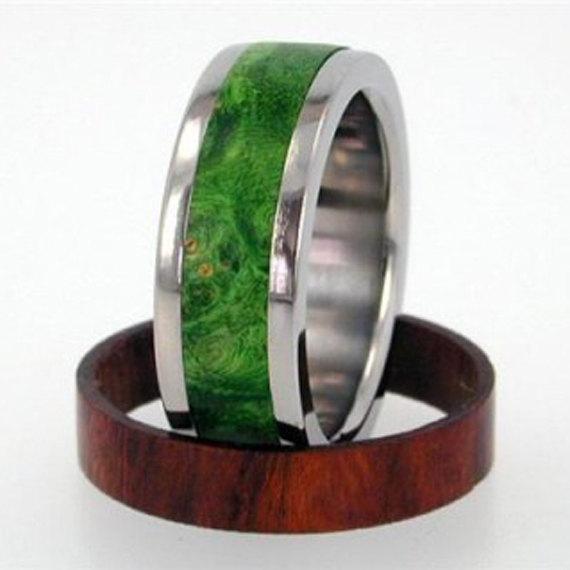 زفاف - Interchangeable Titanium Wedding Band With Wood Inlays, Unique Wooden Rings For Him or Her
