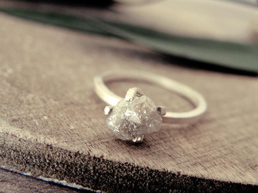 Свадьба - White grey diamond ring, raw diamond ring, raw grey diamond ring, promise ring, engagement ring, raw diamond ring, rough diamond, natural