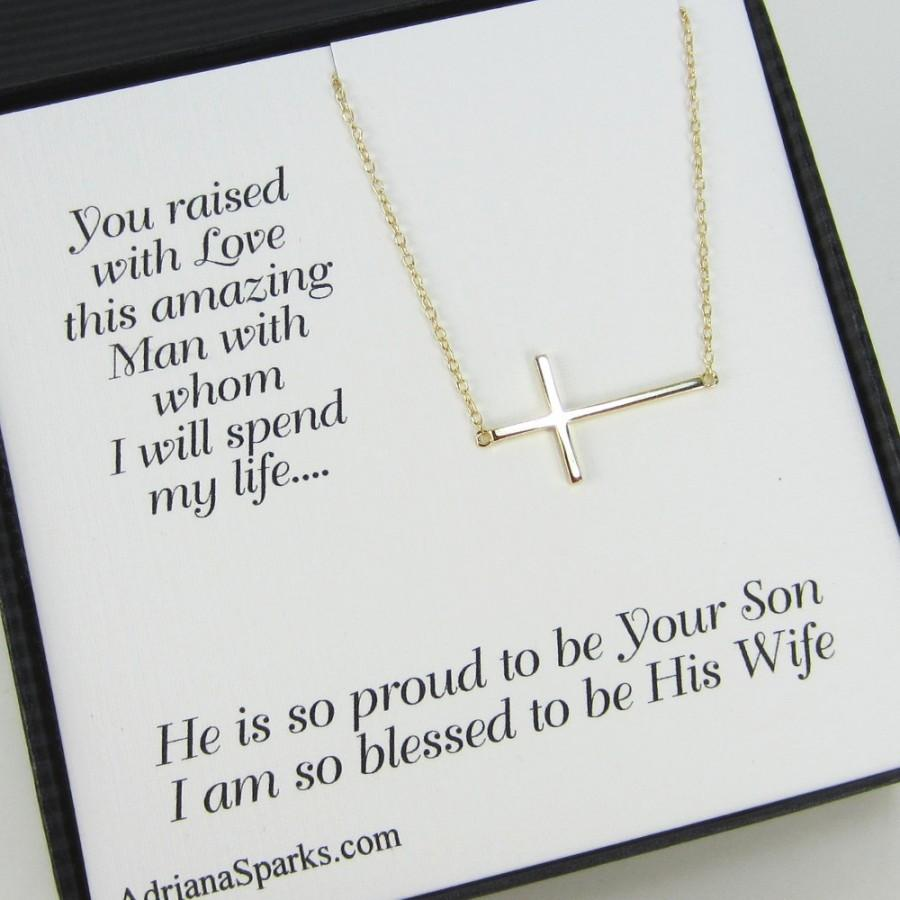 Свадьба - Mother of Groom card with necklace, Sideway Gold Cross Necklace,  mothers gifts,Personalized Bridal Party Gift, gifts for mother in law