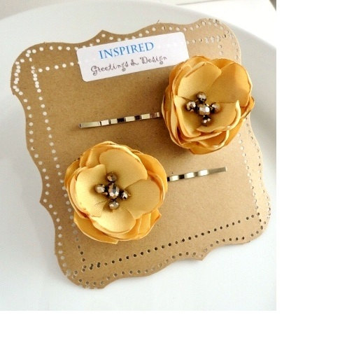 2 Muted Mustard Yellow Flower Hair Pins Honey Gold Accessories Clip Small Bridal Flowers Fall Piece
