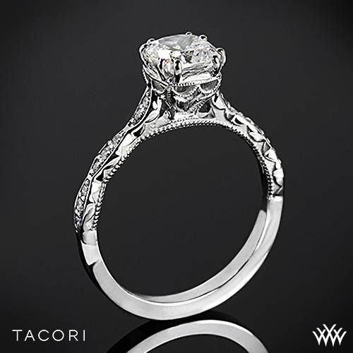 Hochzeit - 18k White Gold Tacori 57-2CU Sculpted Crescent Elevated Crown For Cushion Diamond Engagement Ring
