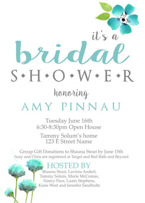 Bridal Shower Invitation Blue And Grey And White Floral Invite