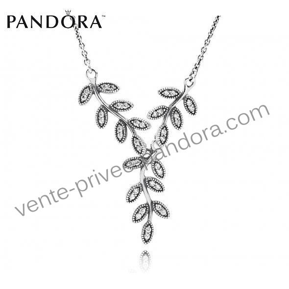 Mariage - Profitez Le Prix - Boutique Pandora Collier Feuilles Tombent Mousseux p0927 - Livraison Gratuite