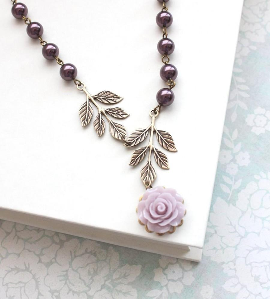 Wedding - Bridesmaids Jewelry Purple Pearl Necklace Mauve Rose Pendant Antique Brass Branch Nature Bridal Accessories Floral Maid of Honor Gift