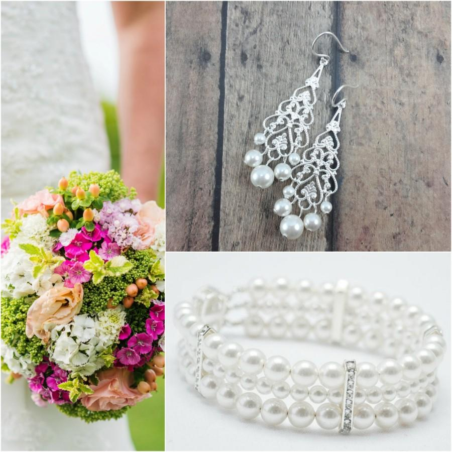 Свадьба - Pearl Jewelry Set, Pearl Bracelet and Earring Set, Wedding Jewelry Set, Pearl Chandelier Earring, Pearl Bracelet, Bridal Jewelry Set