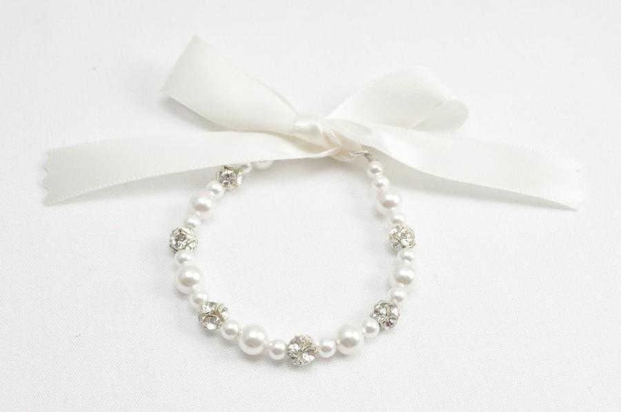 Junior Bridesmaid Gift Child Bracelet Pearl Flower Girl Jewelry