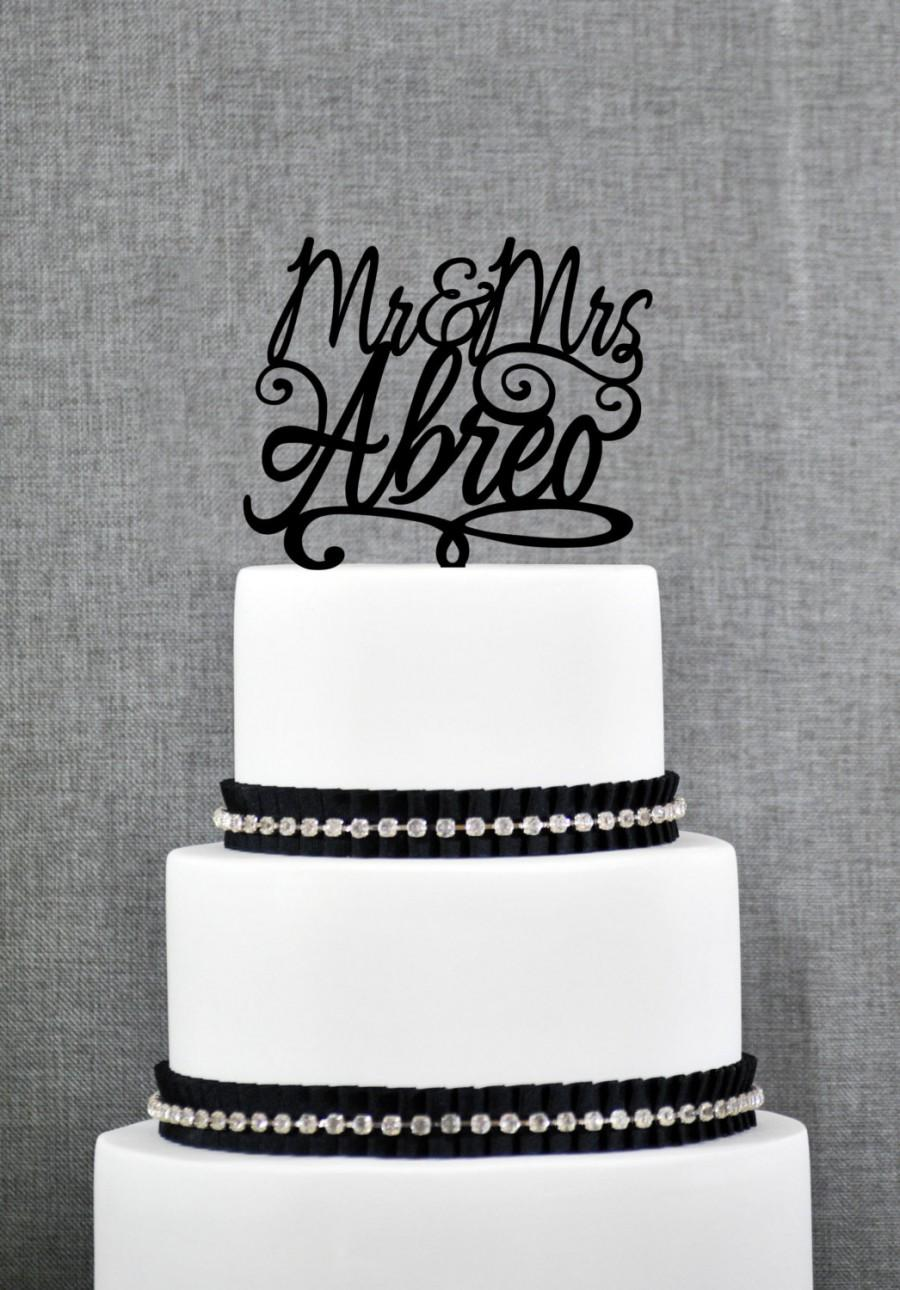 Wedding - Script Mr and Mrs Last Name Wedding Cake Topper, Personalized Script Cake Topper, Elegant Custom Mr and Mrs Wedding Cake Topper - (S149)