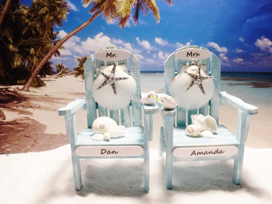 Wedding - Beach Chair Wedding Cake Topper - Turquoise Beach Chair SET- Personalized