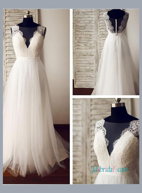 Wedding - Sexy boho illusion lace low back tulle beach wedding dress
