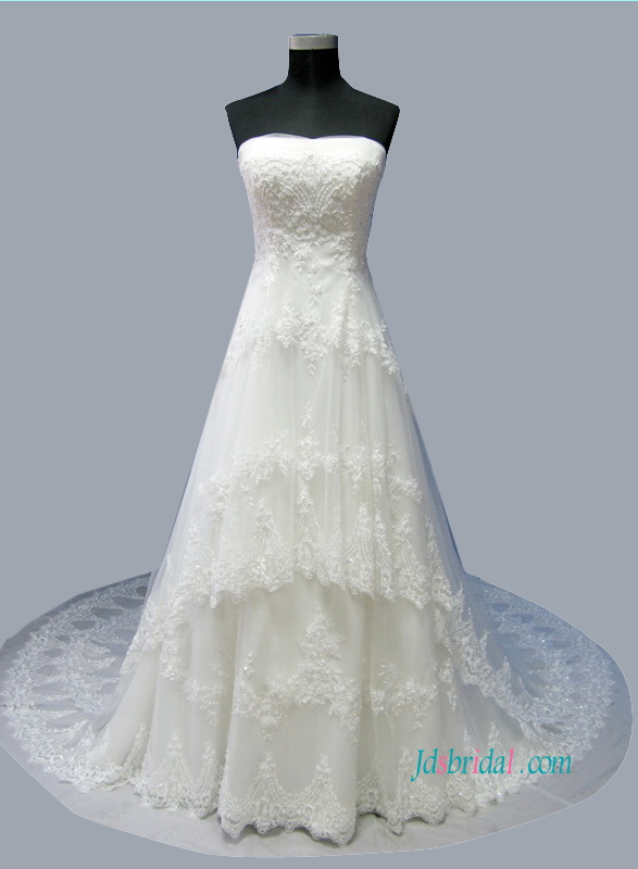 Latest Princess Tiered Tulle Lace A Line Wedding Dress