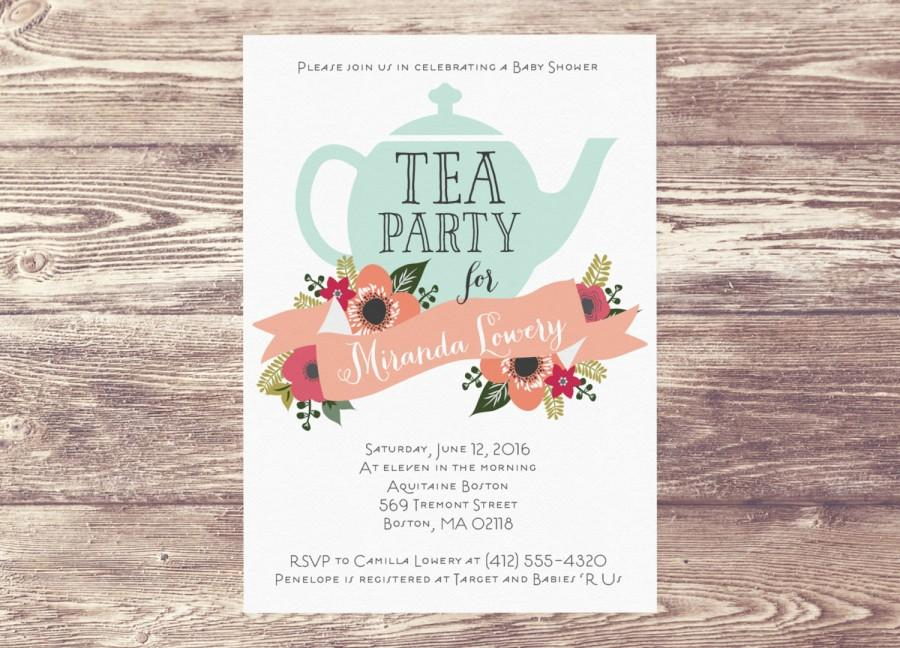 Printed Baby Shower Tea Party Invitation, Custom Personalized ...