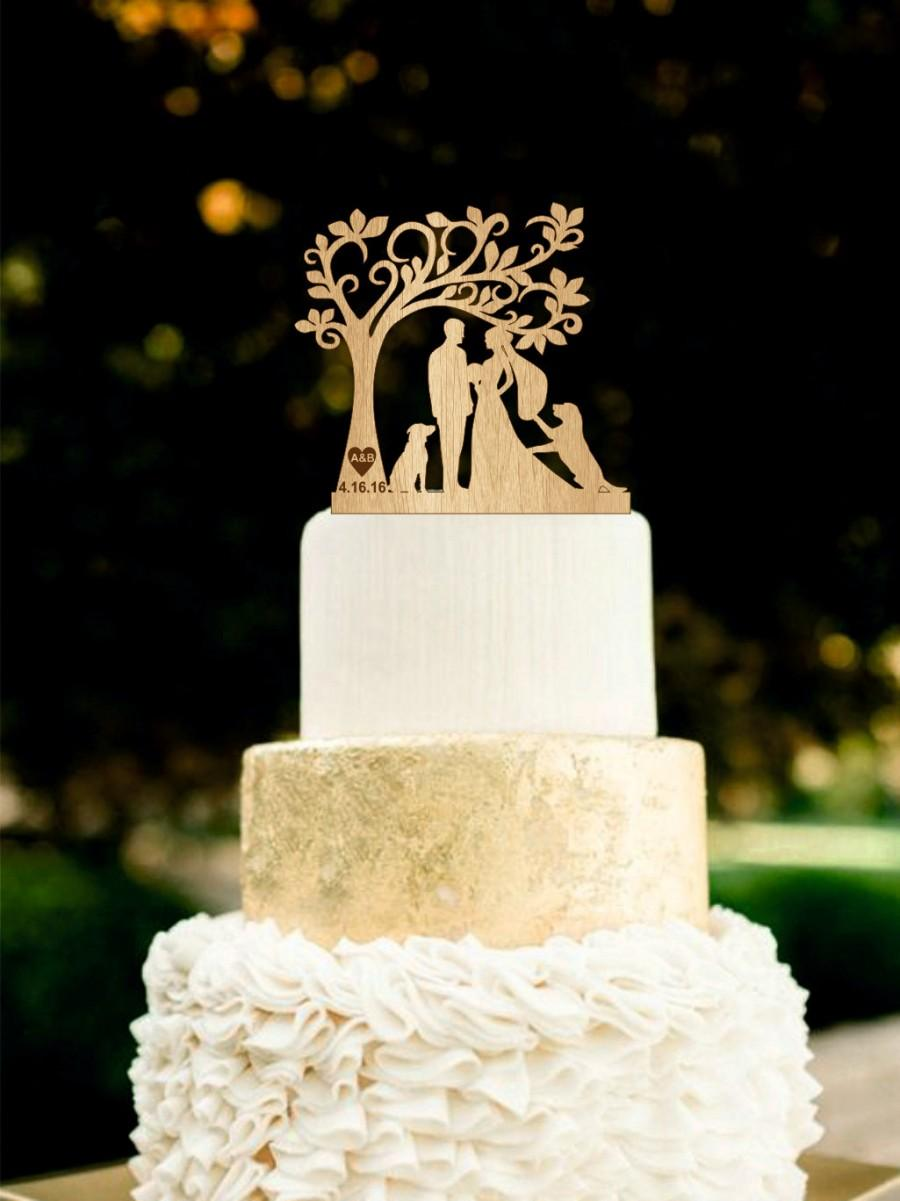 Wedding Cake Topper With Dogs Silhouetee Dog Rustic