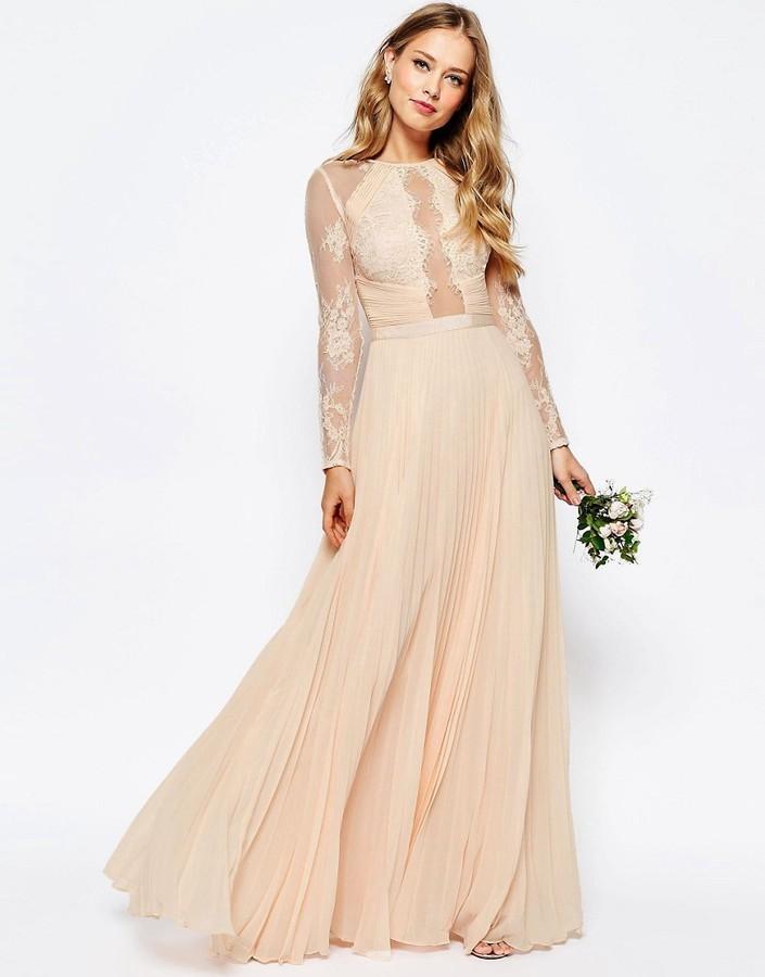 0fd0809fb653 ASOS WEDDING Pretty Lace Eyelash Pleated Maxi Dress  2575626 - Weddbook