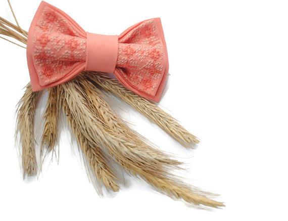 Wedding - peachbo bow tie wedding bow tie peаch bowtie embroidered bow tie groomsmen for wedding in salmon fliege pfirsich noeud papillon pink necktie
