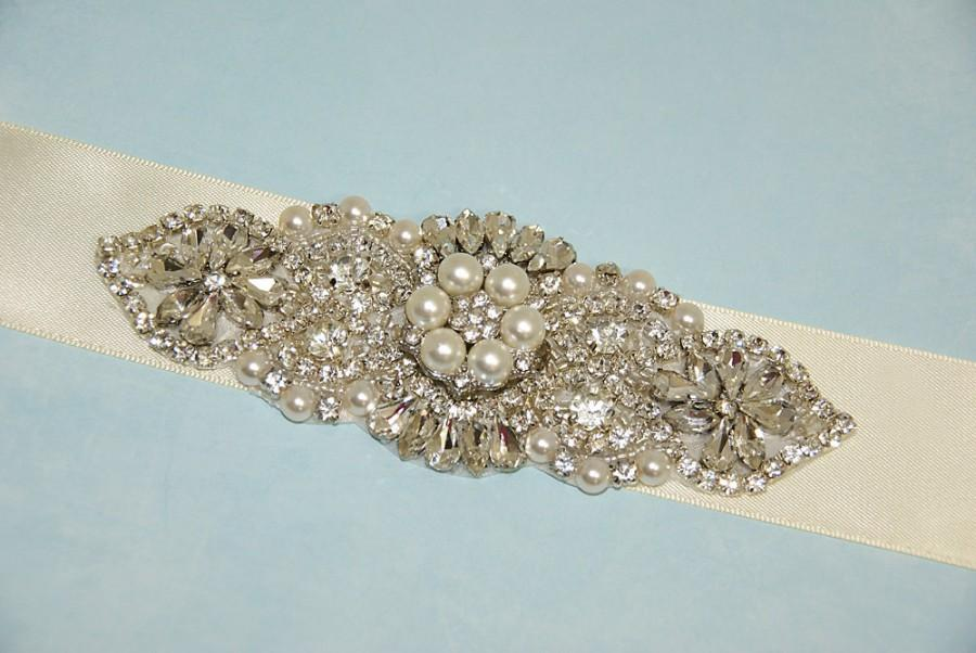 Pearl Rhinestone Bridal Sash, Art Deco Jeweled Wedding Dress Sash ...