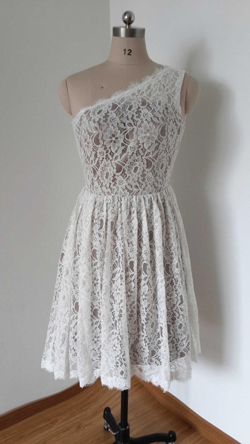 Mariage - 2015 One-shoulder Ivory Lace Silver Lining Short Bridesmaid Dress