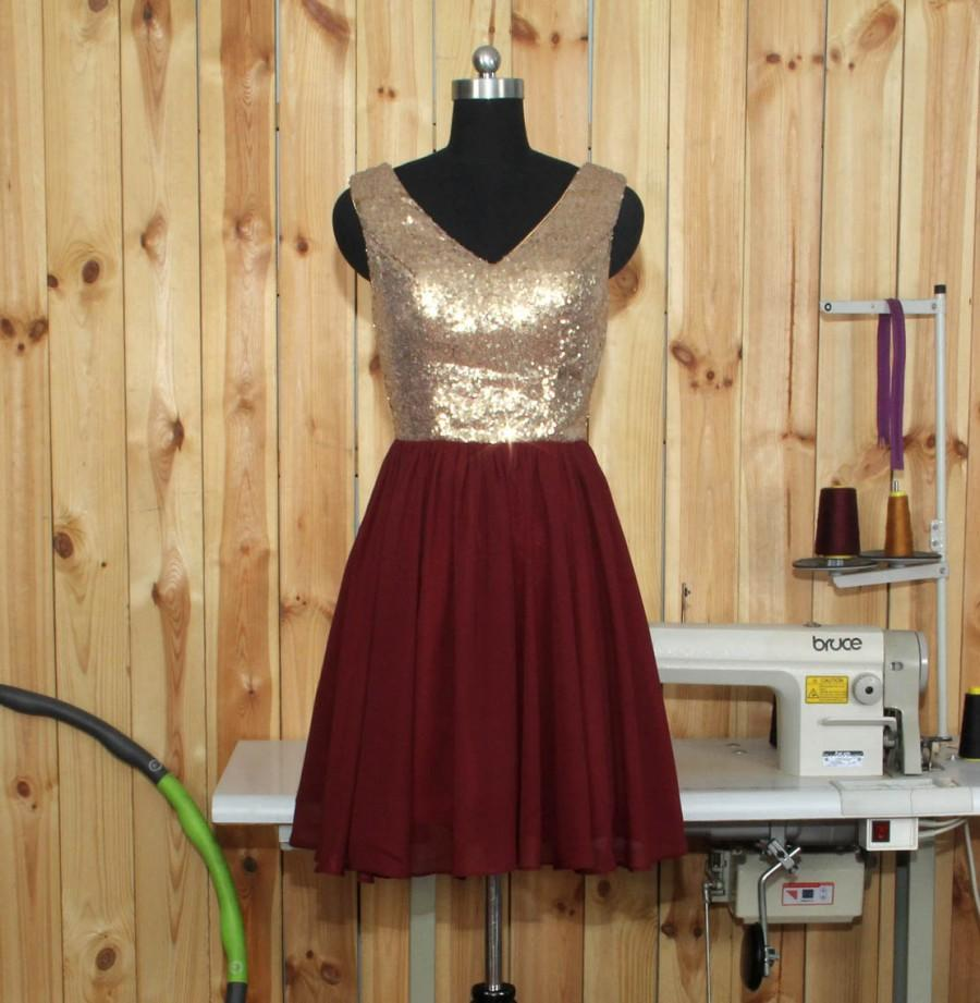 Boda - 2016 Burgundy Bridesmaid dress,Rose Gold Sequin Wedding dress,V-neck V Back  Burgundy Bridesmaid dress