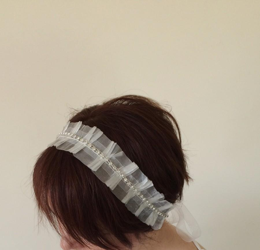 Свадьба - Bridal Hair Wrap, Rhinestone Embroidered Tulle Hairband, Bridal headband, Bridesmaid Headpiece, Beadwork, ReddApple,
