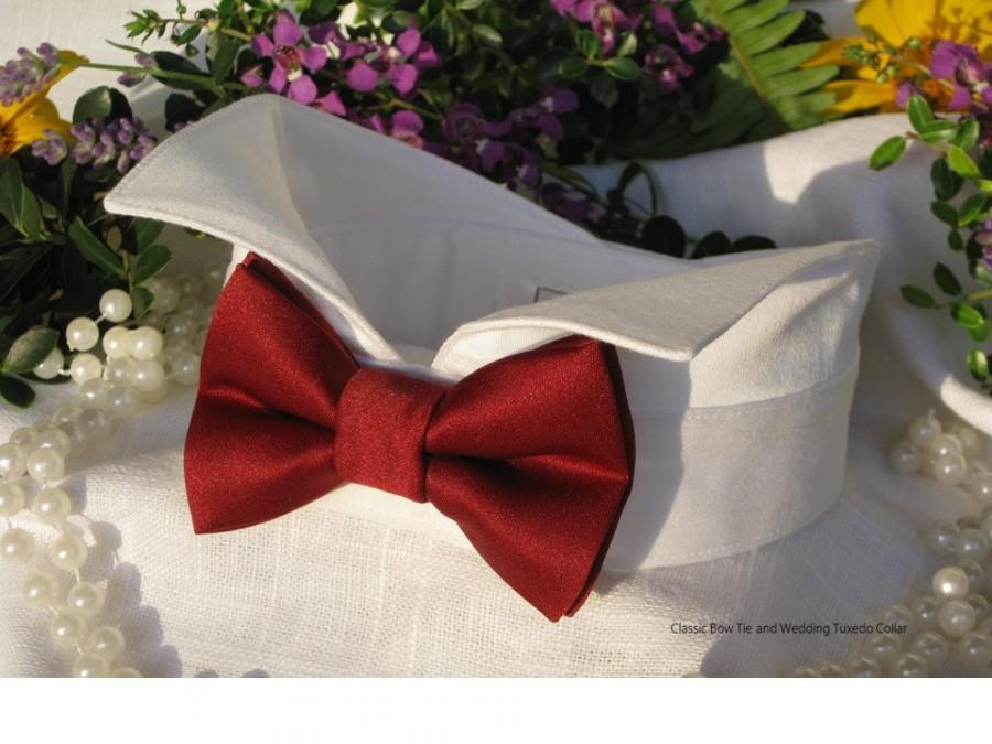 Mariage - Burgundy Dog Bow Tie~Wingtip Tuxedo Collar~Dog Bow Tie Collar~Dog Clothes~Dog Wedding Attire~Dog Tuxedo~Classic Bow Tie Style