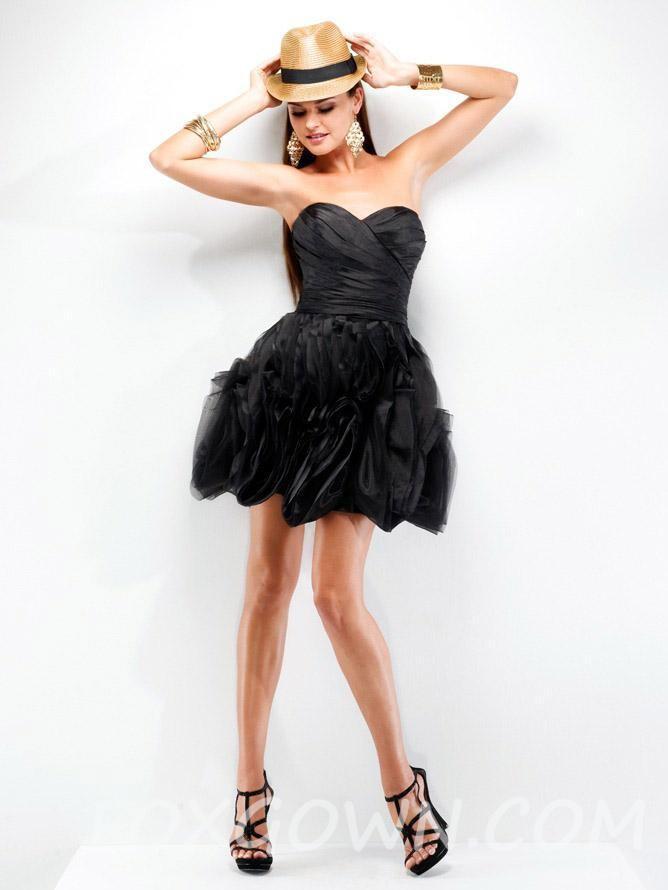 Elegante Schwarze Organza Kurze Schulterfreies Sweetheart Prom Kleid ...