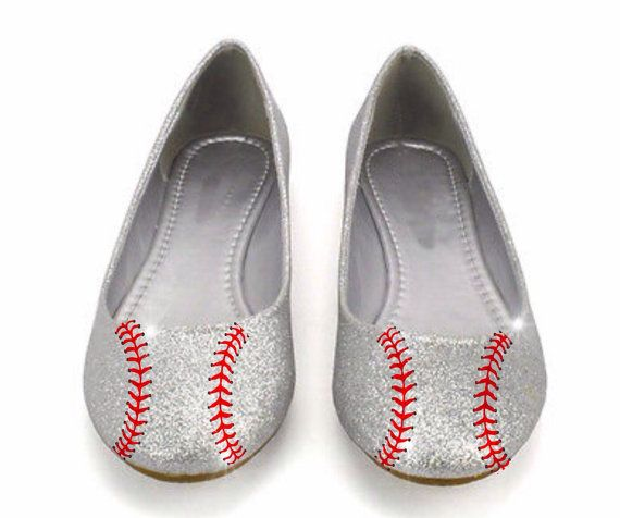 e0c593325d07 Women s Sparkly Baseball Shoes Silver And Red Glitter Stitch Glitter Ballet  Ballerina Flats Wedding Bride Shoes Jersey White Blue Colors