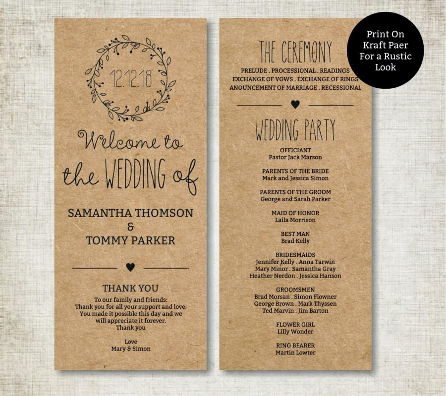 classic wreath wedding program template download editable text kraft wedding program instant download pdf template tealength