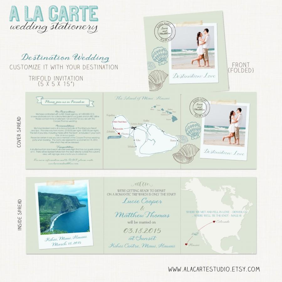 Beach Destination Wedding Invitation Trifold Invitation - Us map fold