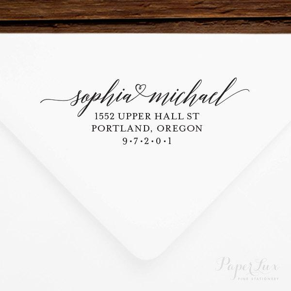 Mariage - Return Address Stamp #50 - Wooden or Self-Inking - Personalized - Gift, Wedding, Newlywed, Housewarming - INCLUDES HANDLE