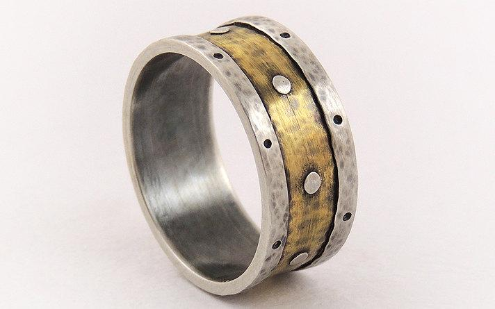Mariage - Mens promise ring - wedding band ring,unique men ring,rustic ring,silver and brass,engagement ring
