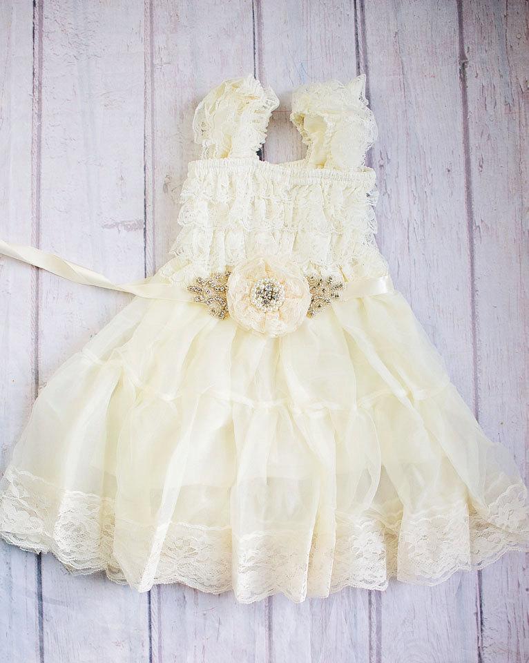 Mariage - Ivory Flower Girl Dress / Baptism Dress..Ivory Lace Dress-Baby girl Clothes- Flower Girl Sash -Tutu Dress-Baby Dress-Christening Dress..Sash
