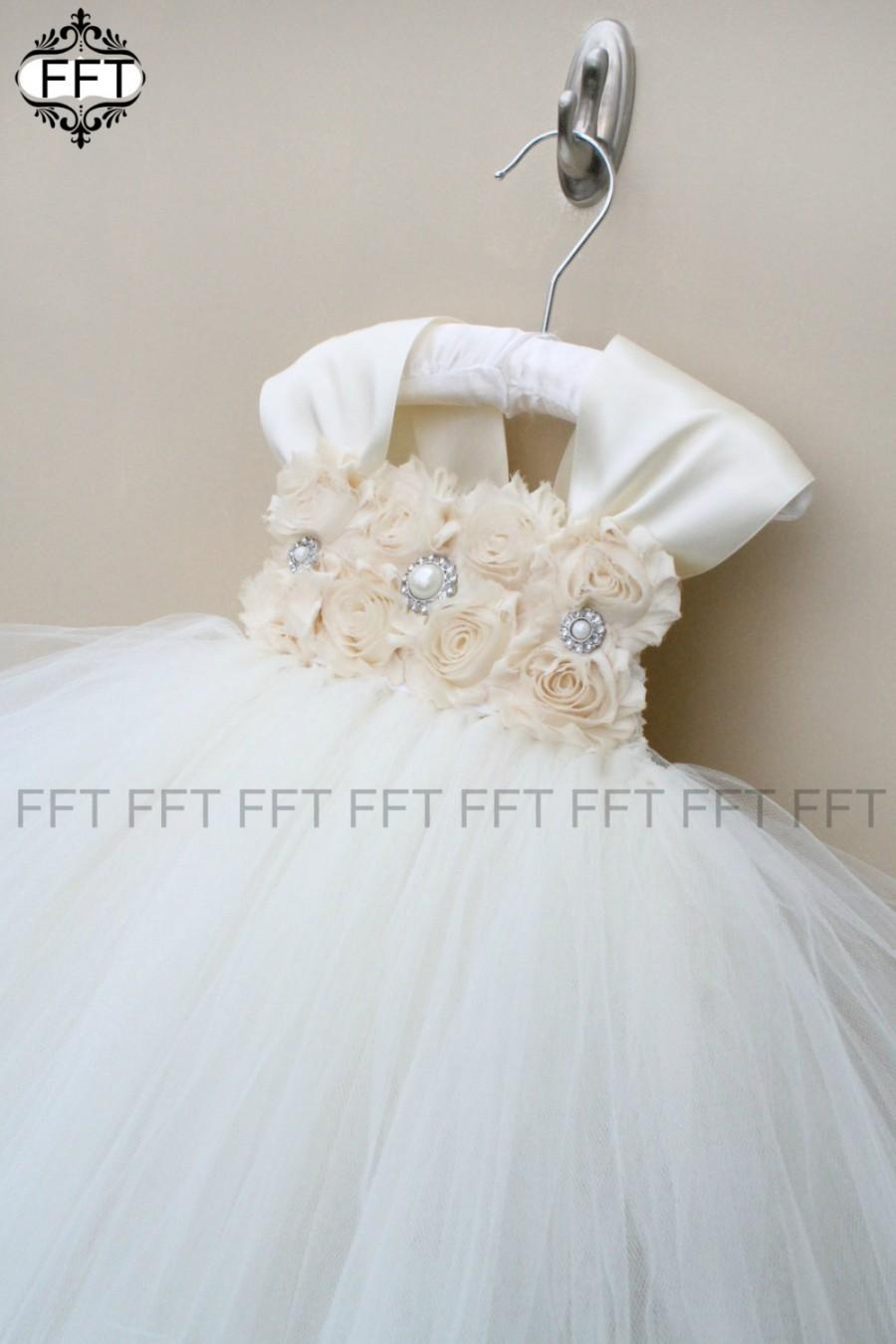Mariage - Champagne & Ivory Flower Girl Dress With Cap Sleeves