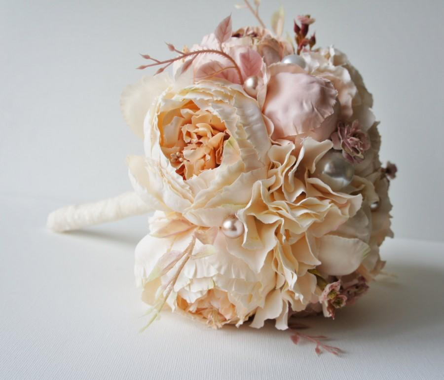 Peony Bridal Bouquet, Silk Wedding Flowers, Champagne Wedding ...