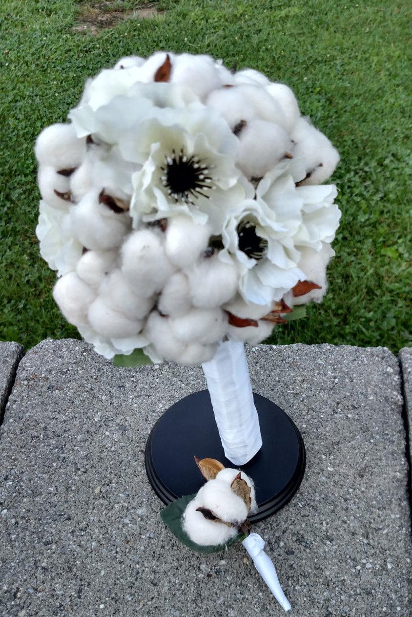 Wedding - Cotton Bridal Bouquet- Cotton Rustic Bouquet- Cotton Woodland Bouquet