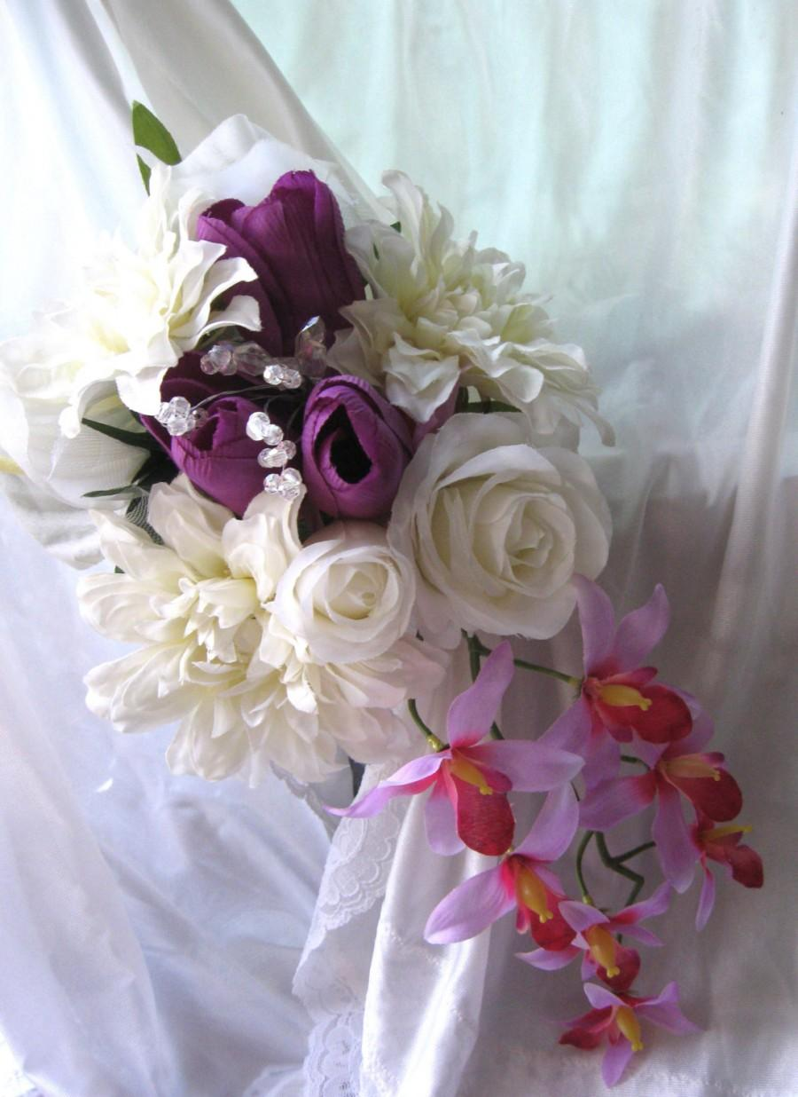 Cascading Bridal Bouquet Wedding Flowers Orchids Dahlias White
