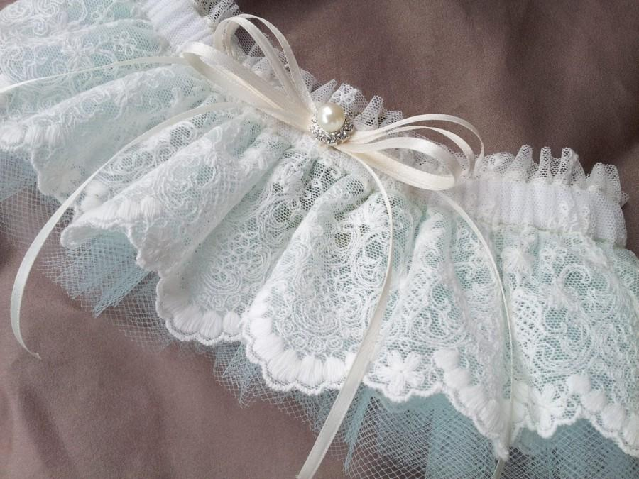 Hochzeit - Lace Bridal Garter Ivory Lace Aqua Blue Tulle Elegant Pearl Rhinestone Accent Wedding Garter Set Something Blue