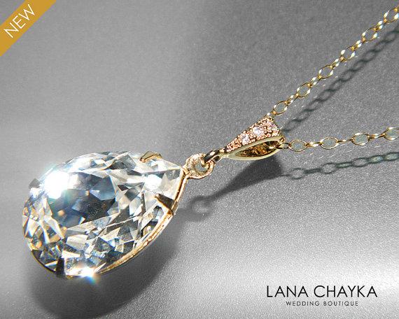 Wedding - Crystal Gold Bridal Necklace Swarovski Clear Rhinestone Teardrop Necklace Wedding Crystal Gold Jewelry Crystal Sparkly Necklace Bridesmaids