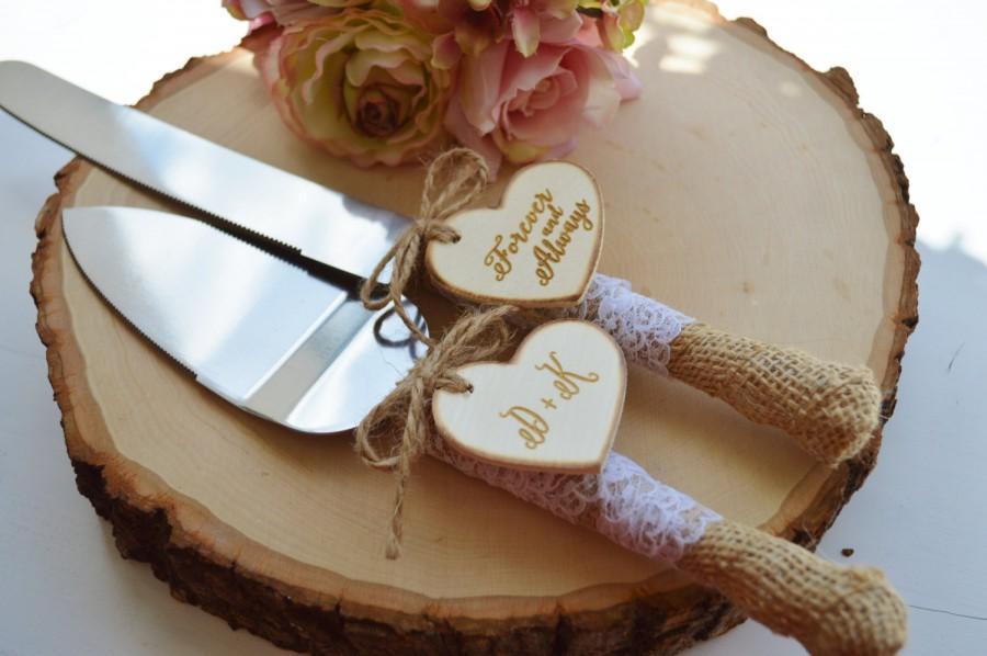 Свадьба - rustic wedding cake knife customized burlap wedding cake serving set burlap and lace(K105)