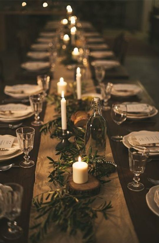 Hochzeit - 5 Simple Table Settings Using Greens & Candles