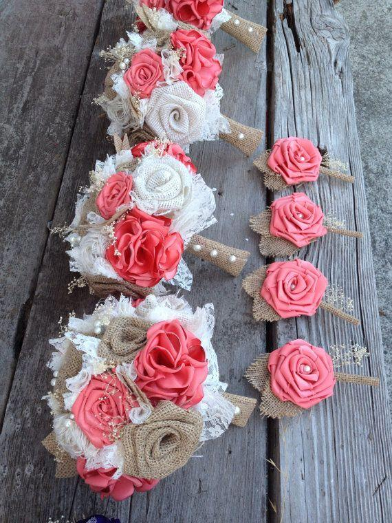 """Hochzeit - Beautiful Coral Silk And Natural Burlap Bouquets (listing Is For One Bridal Bouquet, Click On """"item Description"""" For The Rest Of My Prices)"""