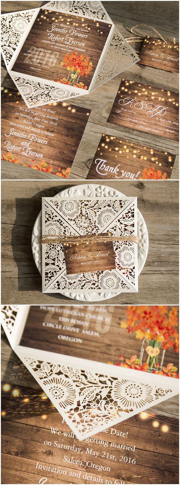 Wedding - Rustic Stringlights Maple Leaf Laser Cut Wedding Invitations With Twines EWWS096