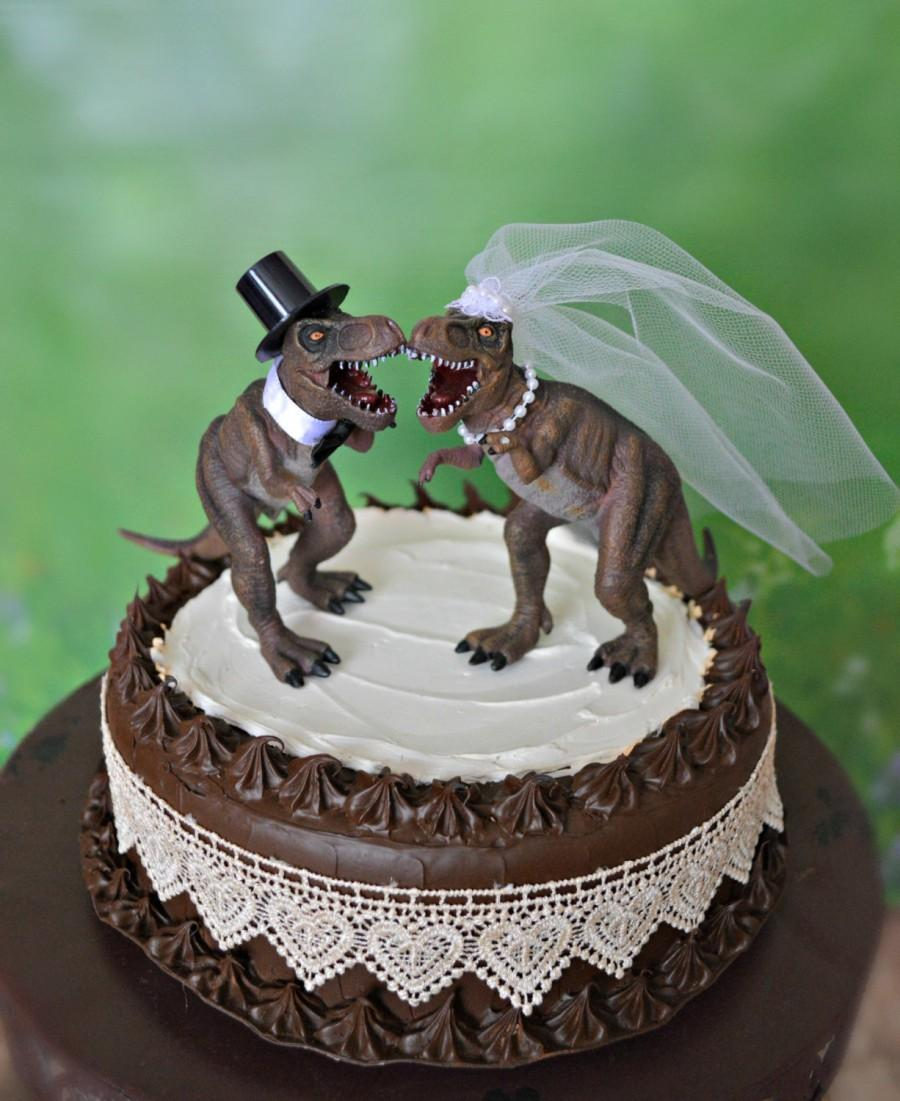 Dinosaur T Rex Wedding Cake Topper Bride And Groom Dinosaurs Jurassic Park Themed Lover Unique Lizard Prehistoric Creature