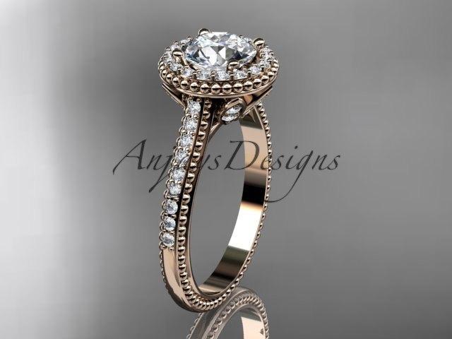 Свадьба - 14kt  rose gold diamond floral wedding ring,engagement ring ADLR101